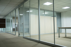 Glass walls in office wall decor
