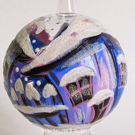Bolas de Vidrio Soplado, Diseños Navideños, Pintado a Mano