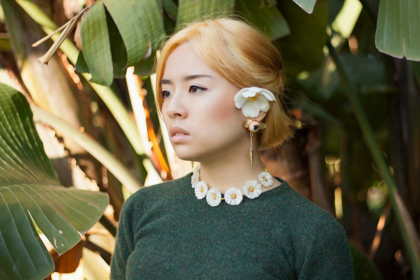 Jenny wearing eyeball earring