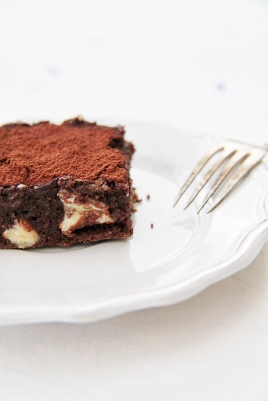Brownies truflowe z kawą i białą czekoladą