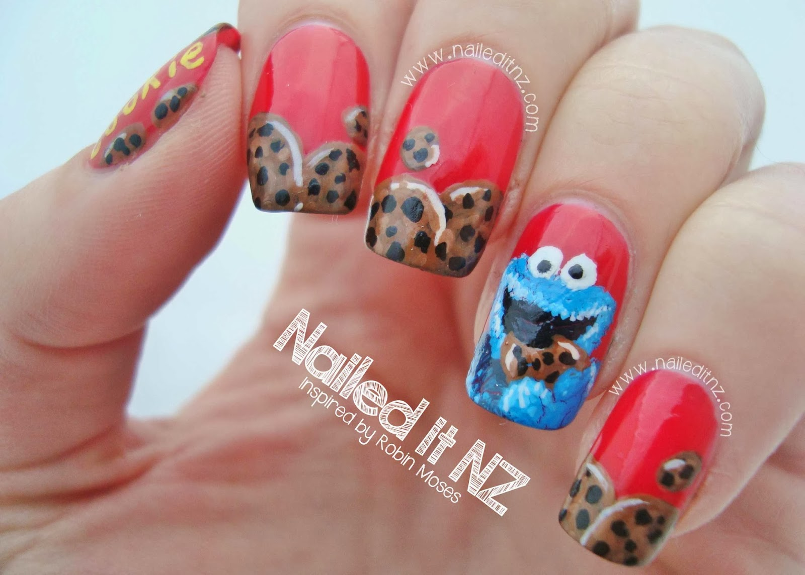 Cookie Monster Nail Art - Inspired By Robin Moses