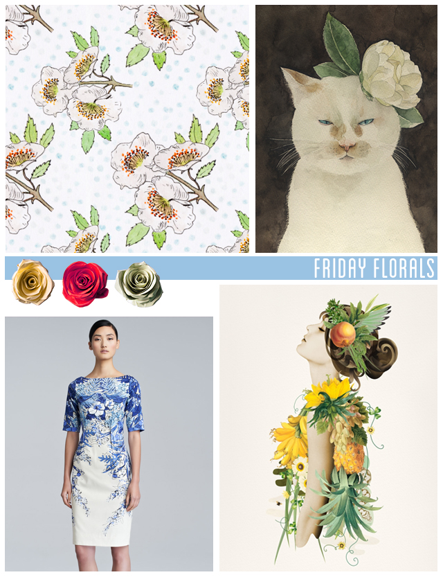 friday florals - pattern by laura redburn, cat and peony painting by midori yamada, greek goddess collage by ciara phelan & dress by lela rose