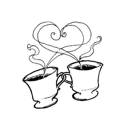 desenho de xicara fazendo um coração com a fumaça desenhos para