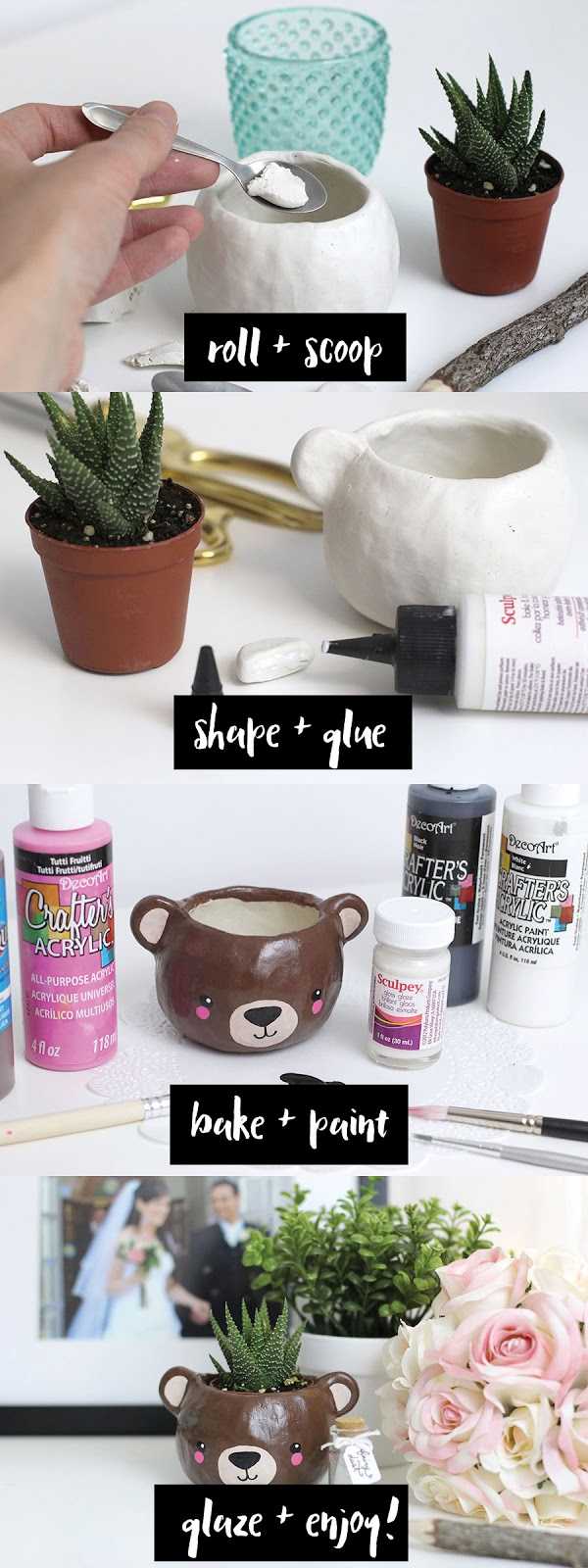 Steps and instructions to make an easy animal head polymer clay succulent planter.
