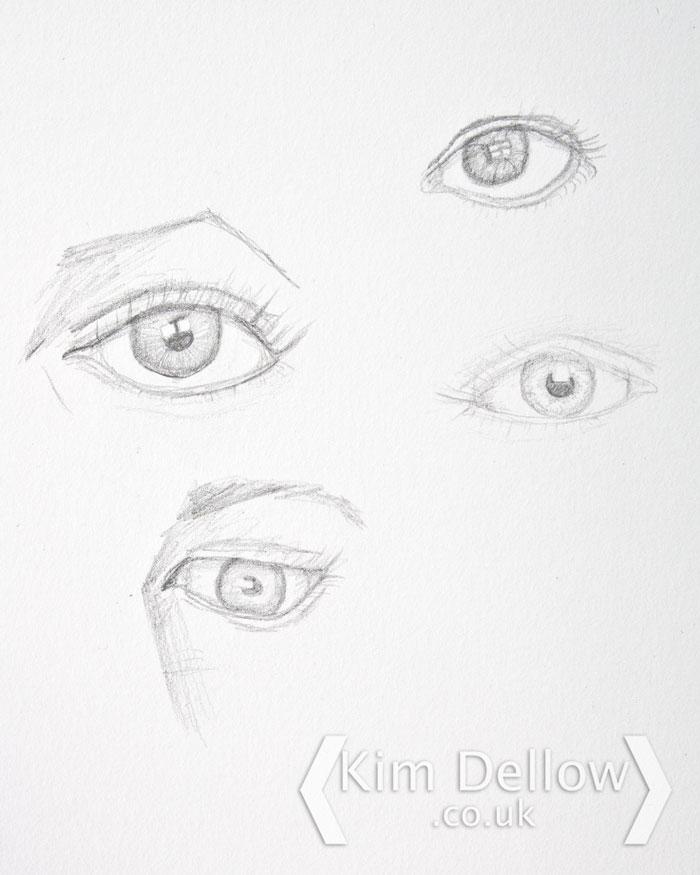 Eye sketching practise in pencil