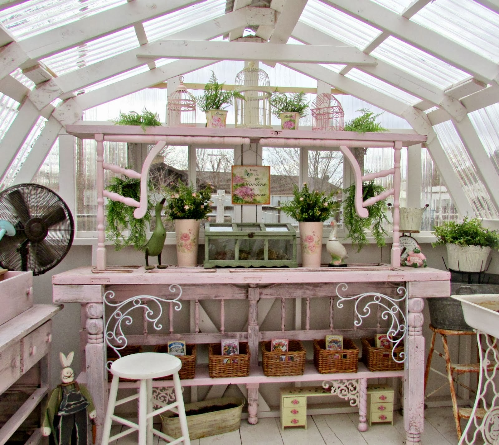 Penny's Treasures shared her Potting Table for New Greenhouse Featured at One More Time Events.com #potting bench