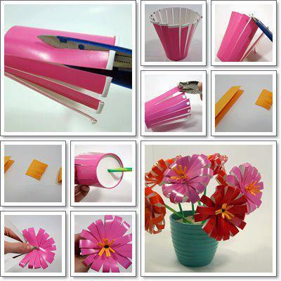 Ideas para reciclar: Flores de vasos desechables!!