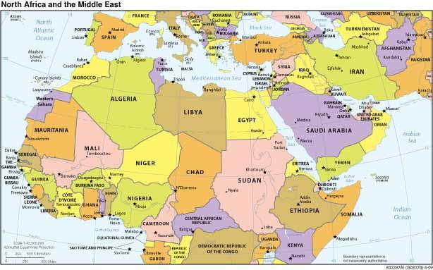 Kaart noord afrika landen topografie