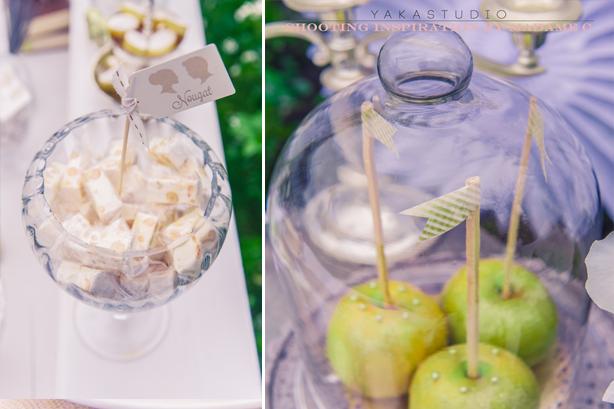 gourmndises sous cloche en verre avec mini fanions
