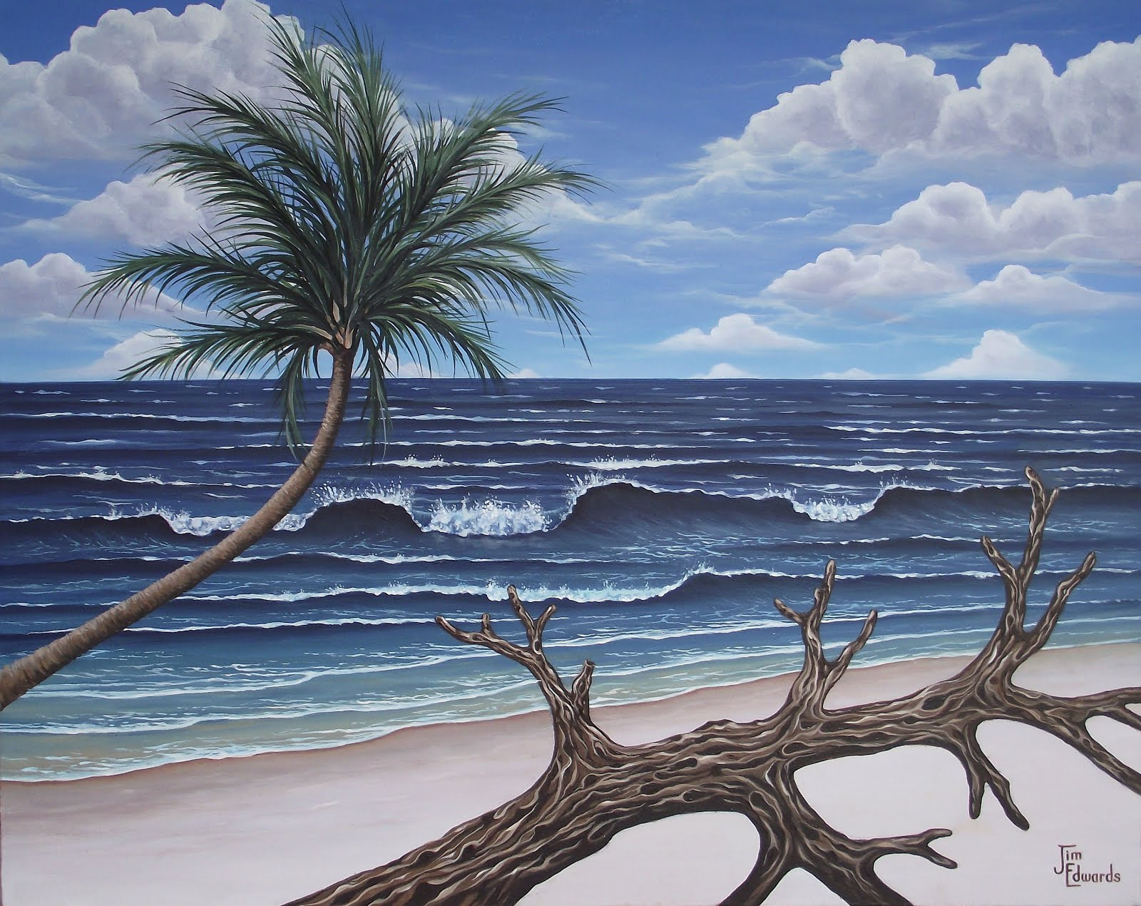 Palm and Driftwood 24 x 30