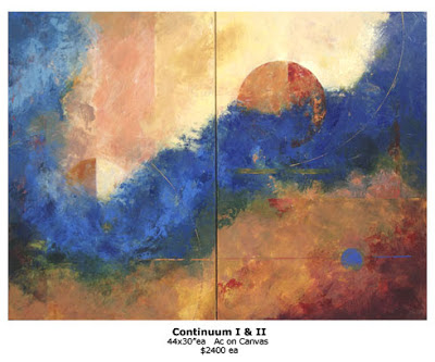 Continuum I & II, large acrylic paintings by Marianne Hornbuckle