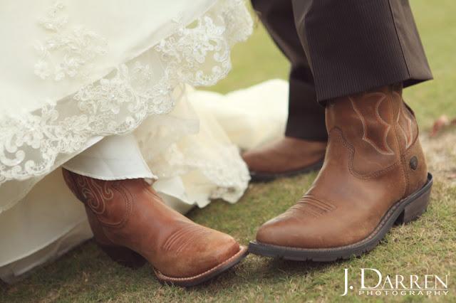 pics of his and her cowboy boots at a Bermuda Run Counrty Club Wedding in Bermuda Run North Carolina