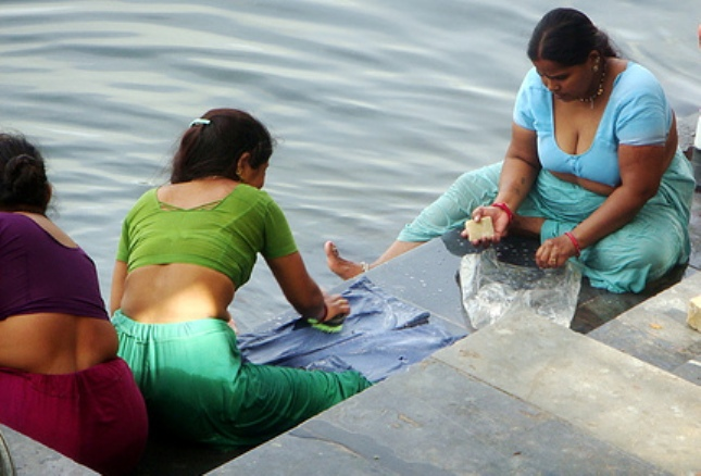 Indian Womens Bathing At River Village