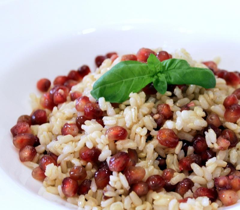 El capricho saludable riso integrale con melograno e basilico arroz integral con granada y - Cucinare riso integrale ...