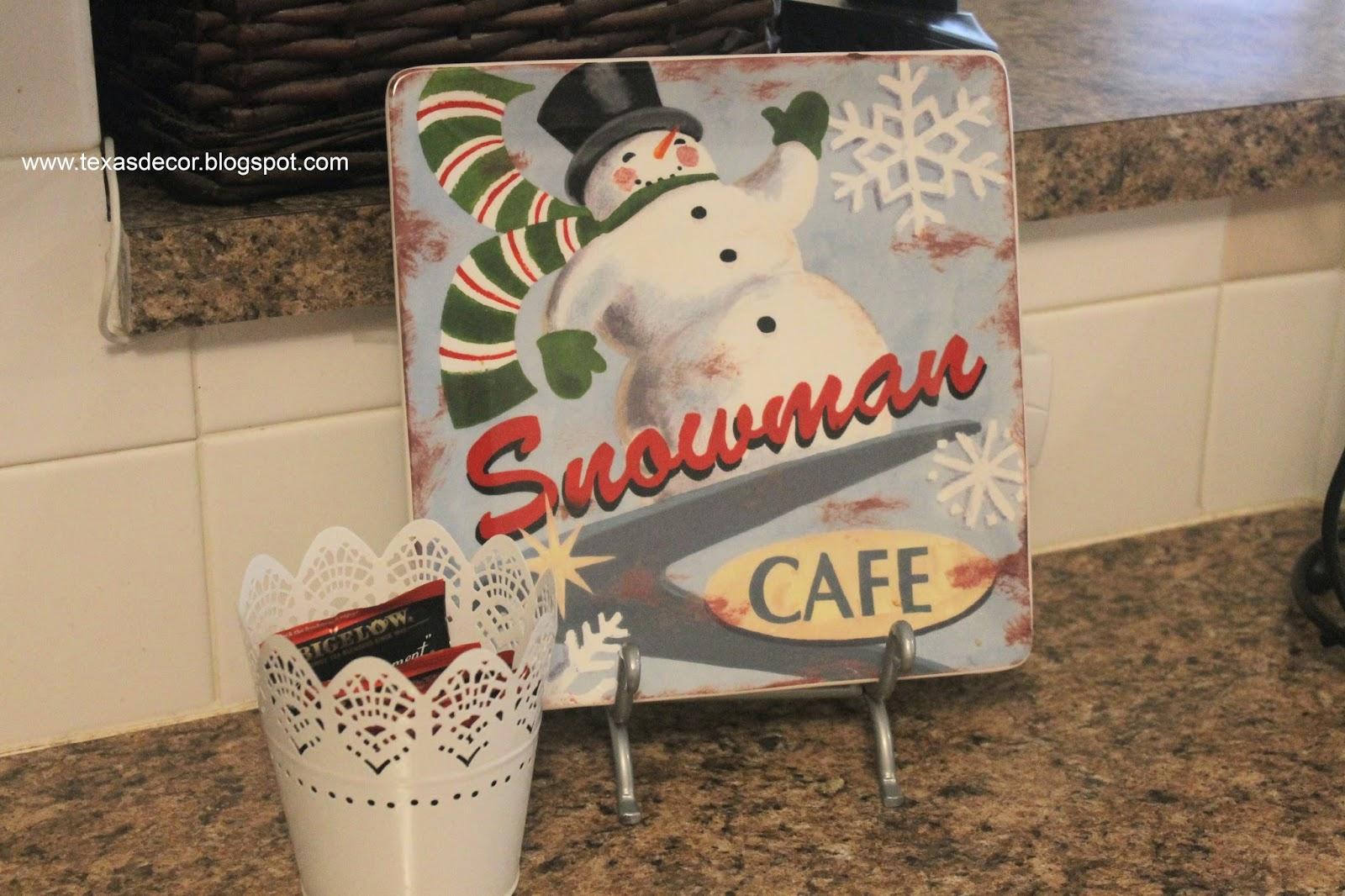 hobby lobby snowman cafe plate
