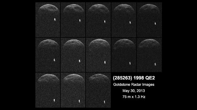 Hình ảnh radar đầu tiên về tiểu hành tinh 1998 QE2 và mặt trăng của nó khi đang cách chúng ta 6 triệu km. Credit : NASA/JPL-Caltech/GSSR.