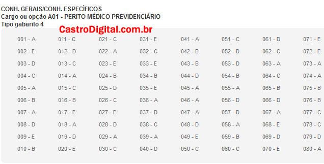 IMAGEM - Gabarito oficial do concurso do INSS 2011/2012 - Cargo Perito Médico Previdenciário - Tipo 04
