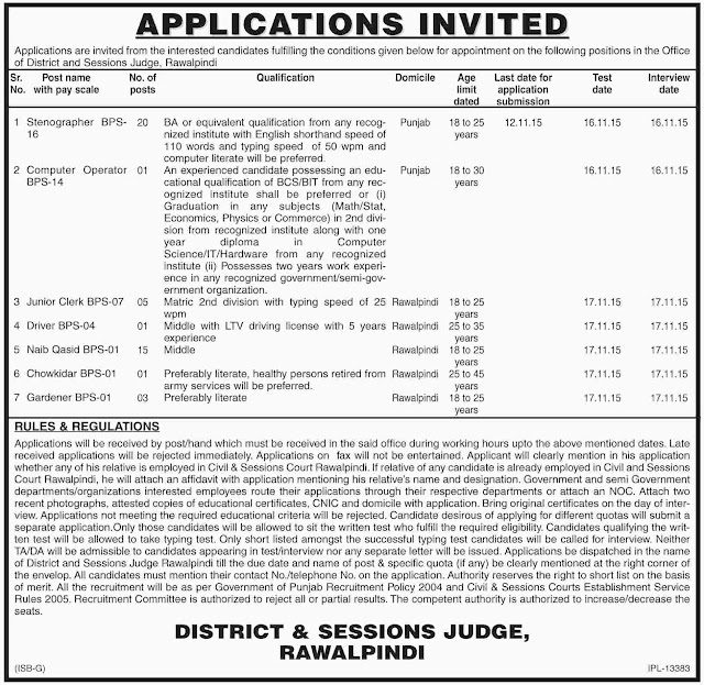 46 Jobs in District & Session Judge Office Rawalpindi