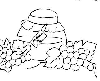 desenho pote de geleia de uva para pintar