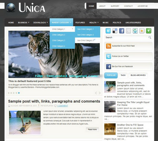 Unica Blogger Template