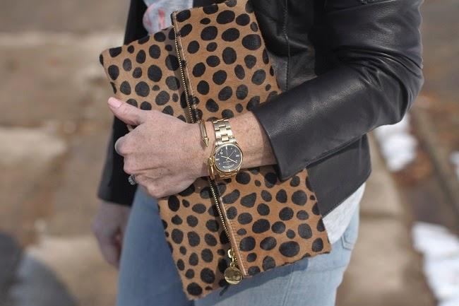 clare v clutch, michael kors watch, vita fede bracelet