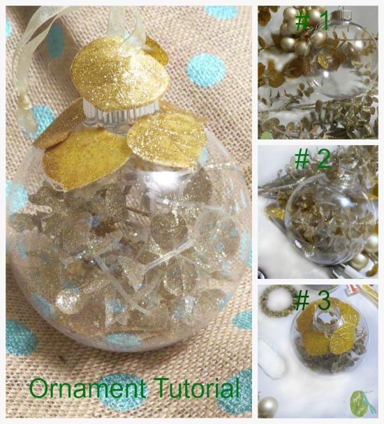 Glass Ball Ornament, Tutorial, Gold, Glitter, Gold Stems. Ribbon, Burlap background