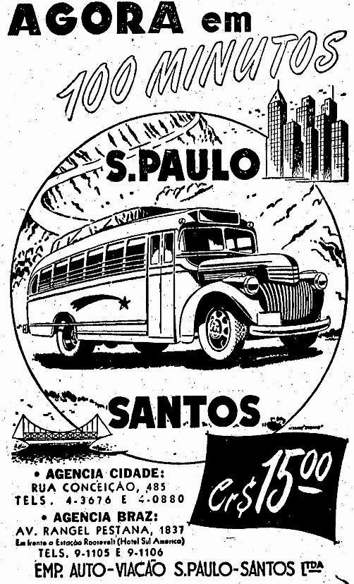 Propaganda de 1947 que anunciava a viagem da cidade de São Paulo à Santos em 100 minutos.