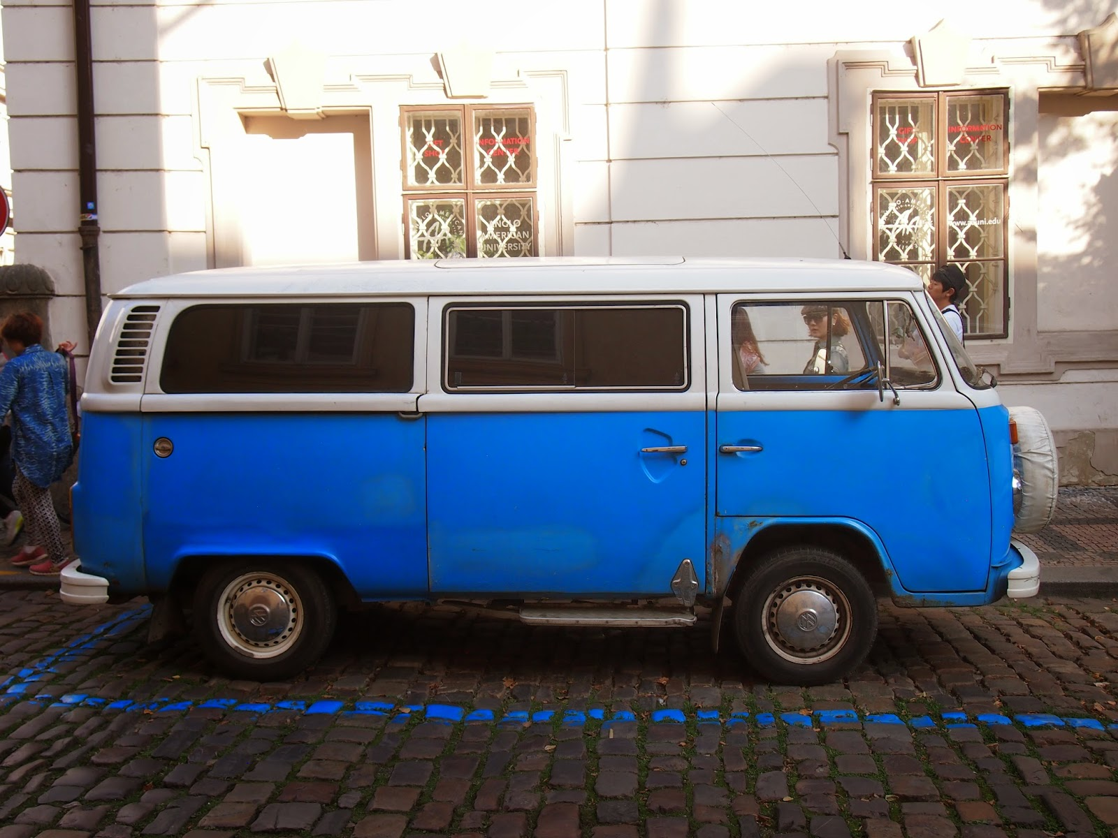 A blue VW bus spotted in Prague near the Lennon Wall