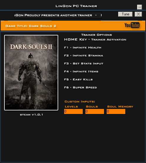Dark Souls 2 v1.0 Steam Trainer +8 [LinGon]