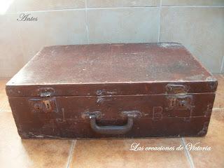 Las creaciones de Victoria.Restauración maleta de madera.Vintage