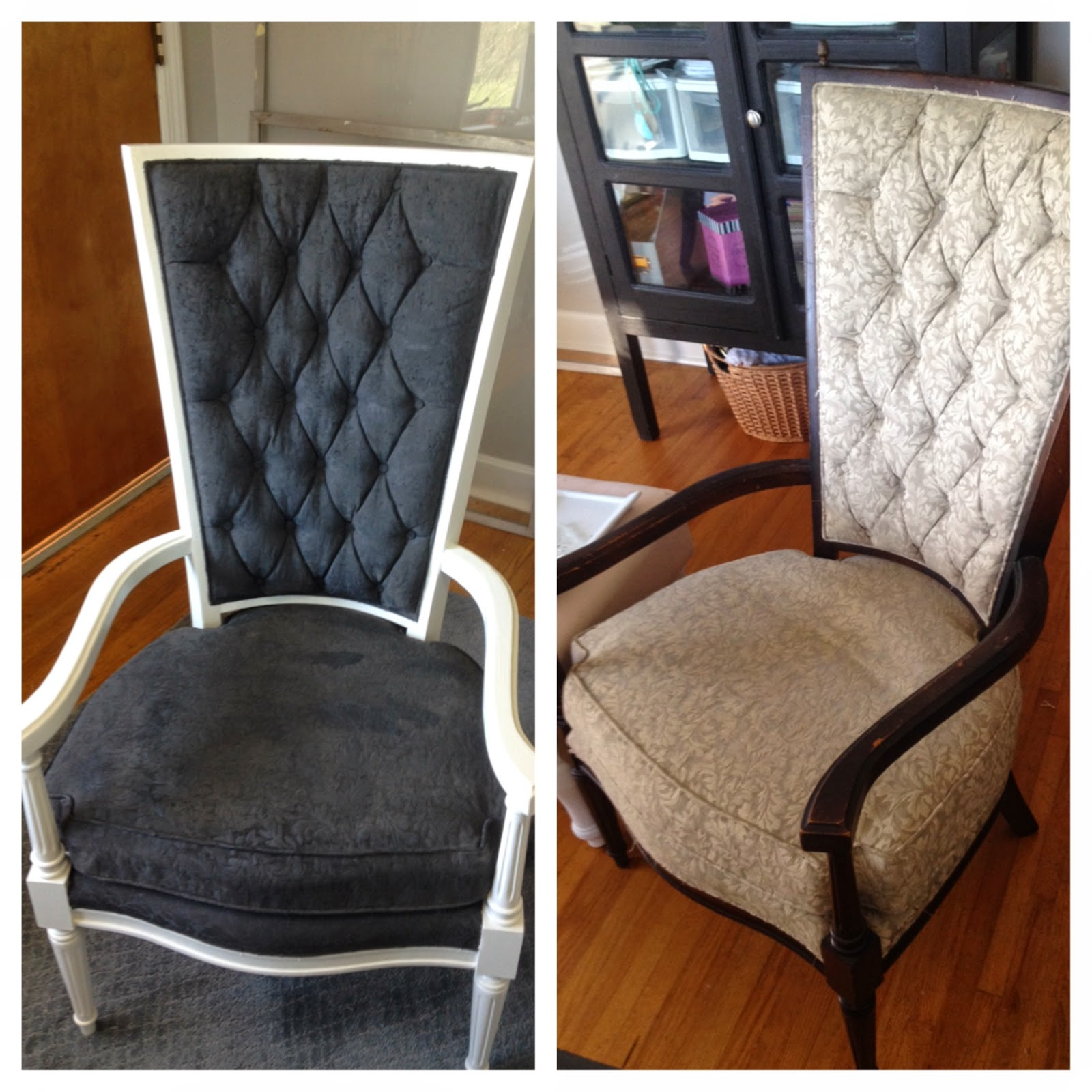 blissfully chic diy the painted chairs painting over fabric. Black Bedroom Furniture Sets. Home Design Ideas