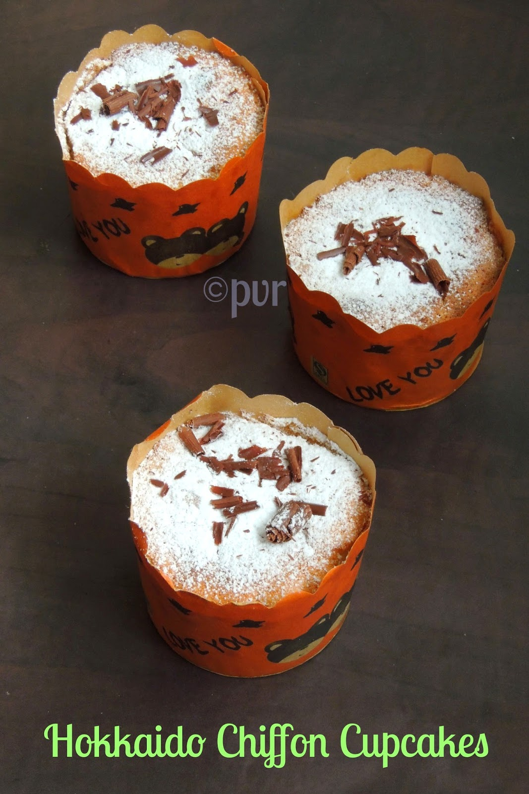 Hokkaida style chiffon cupcakes, Hokkaido chiffon cupcakes