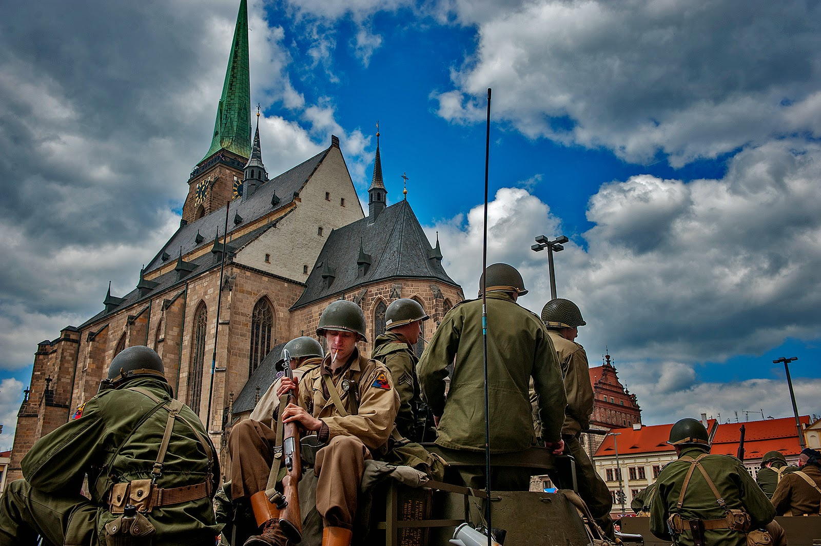 WWII, Plzen, World War II, U.S. WWII soldiers, 16 Armored Division, Liberation of Plzen, Czech Republic, Czechoslovakia