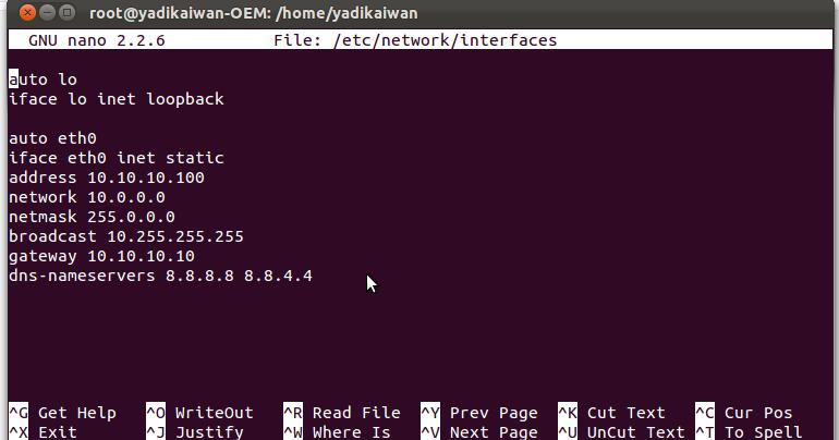 Linux: Merubah Nameserver (resolv.conf) Pada Ubuntu 12.04