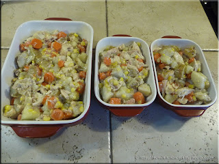 chicken pot pie filling in the casserole pans