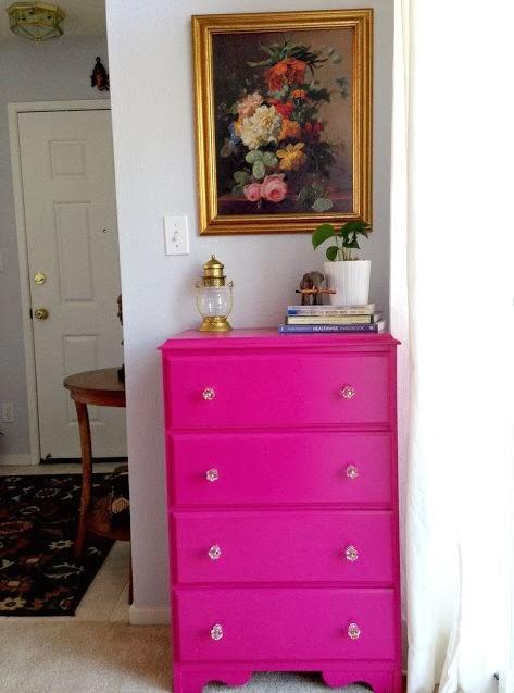 Hot Pink Dresser Makeover