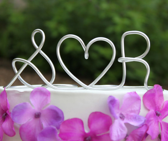 Wire Wedding Cake Topper initials wedding cake toppers