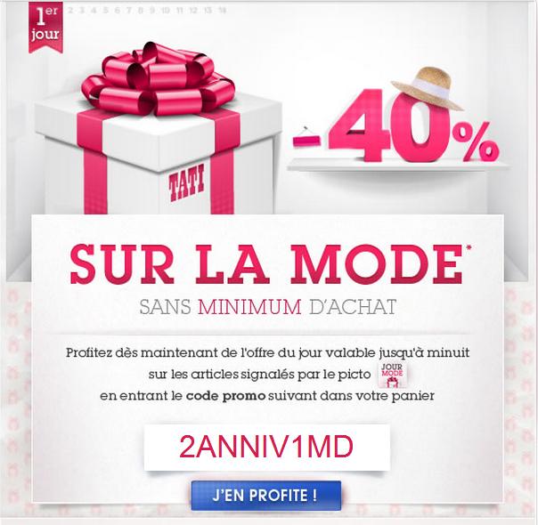 Aujourd'hui promo -40% sur Tati, sur la mode sans minimun d'achat Code Promo Tati