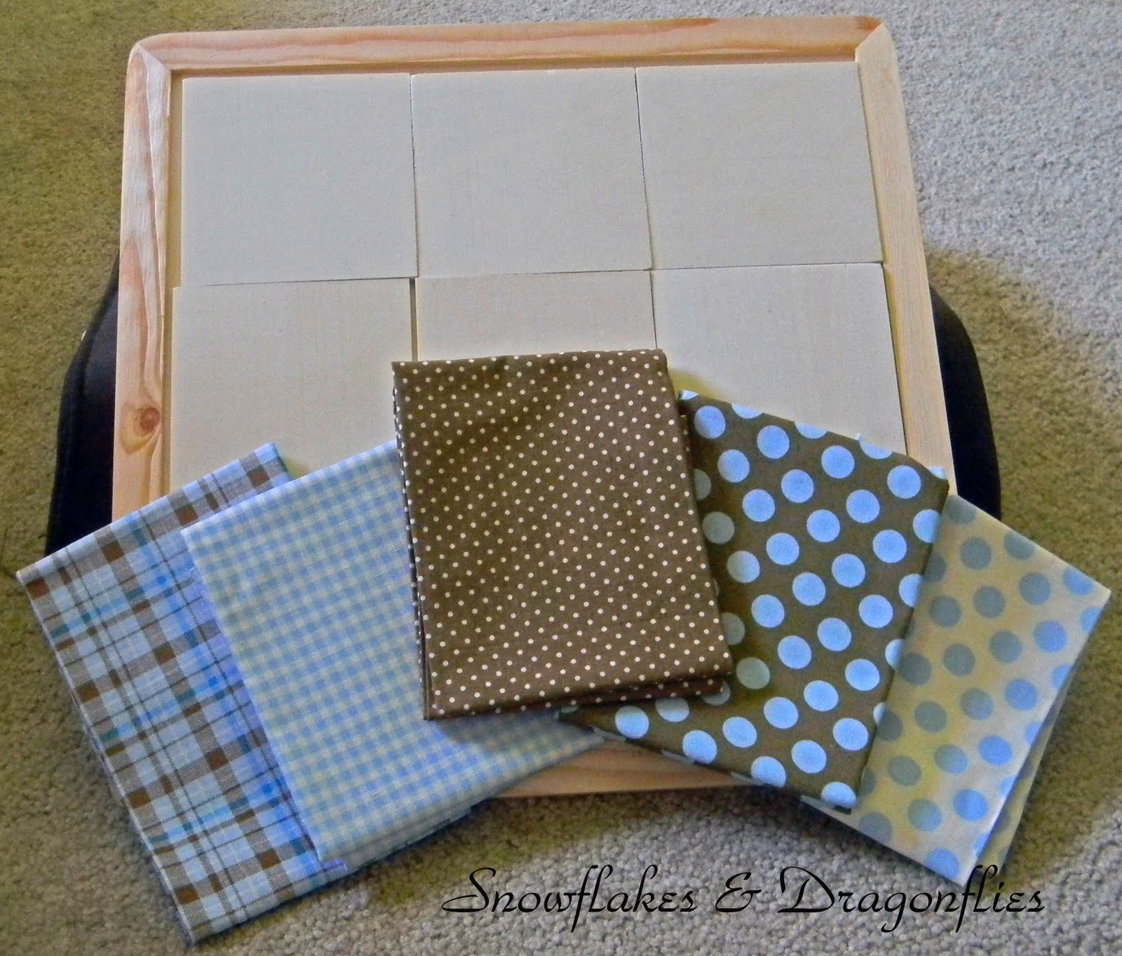 used Mod Podge to adhere the fabrics to the tiles and frame.