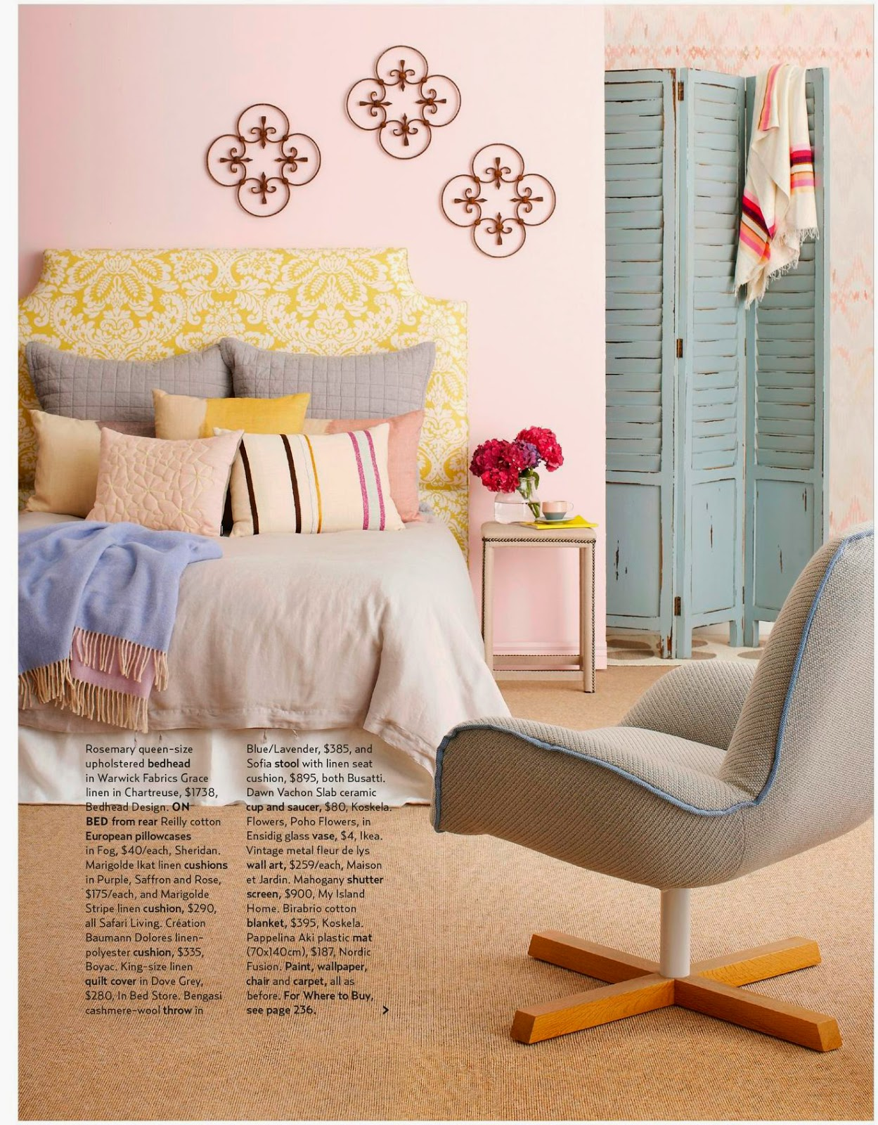 The Rosemary upholstered headboard from Bedhead Design becomes a real feature in the magazine shoot, showcasing a lovely linen fabric the top quality bedhead design steals the show.