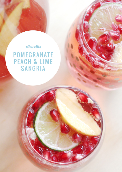 Pomegranate, Peach & Lime Sangria by Eliza Ellis