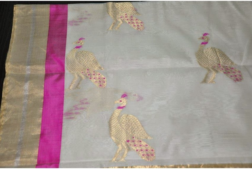 Chanderi Saree with Peacock Motif