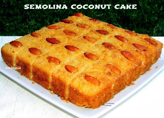 semolina coconut cake (egg less)
