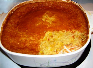 Corn pudding: creamed corn and sweetcorn in a sweetened custard base, a classic American accompaniment