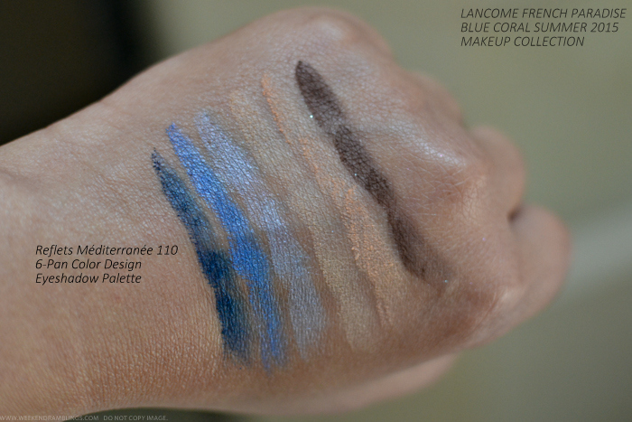 Lancome French Paradise Blue Coral Makeup Collection Summer 2015 Swatches Reflets Mediterranee Eyeshadow Palette