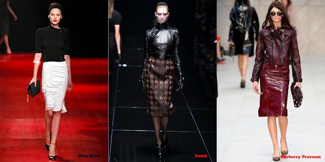 Tendencias mujer otoño/invierno 2013/14 falda de tubo: Nina Ricci, Gucci y Burberry Prorsum