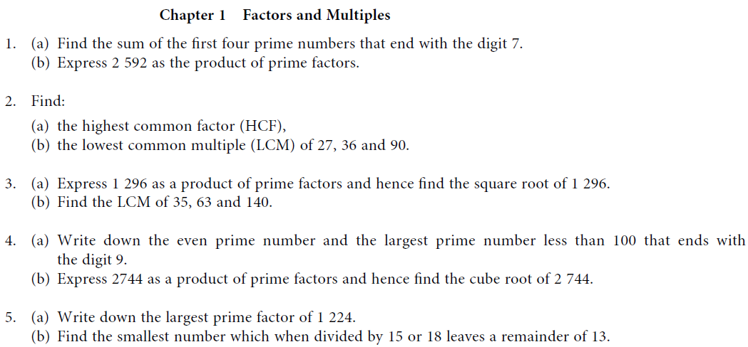 Hcf homework sheet – Factors Multiples Worksheet