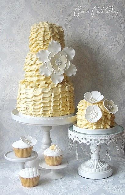 Yellow and white buttercream cake