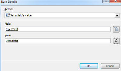 Fill validate method userinput query field by create set a field 's value