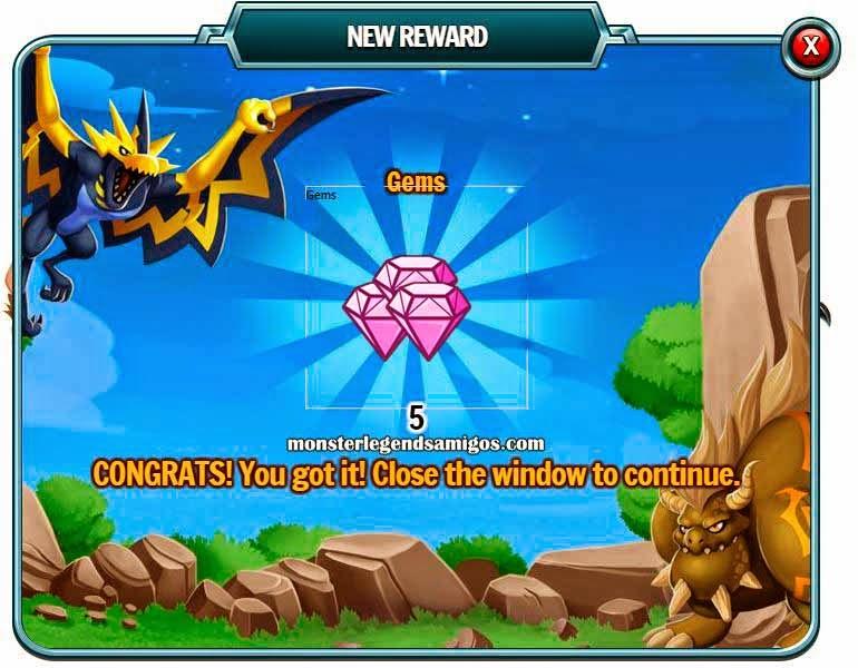 imagen del premio de 5 gemas gratis de monster legends